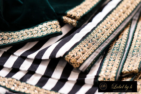 BLACK AND WHITE STRIPED SAREE WITH VELVET BLOUSE