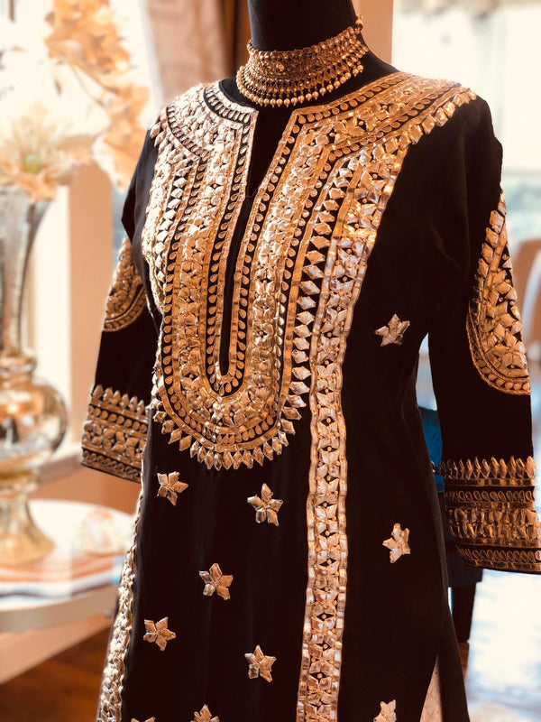 BLACK HAND EMBROIDERED GOTTA WORK KURTA SET