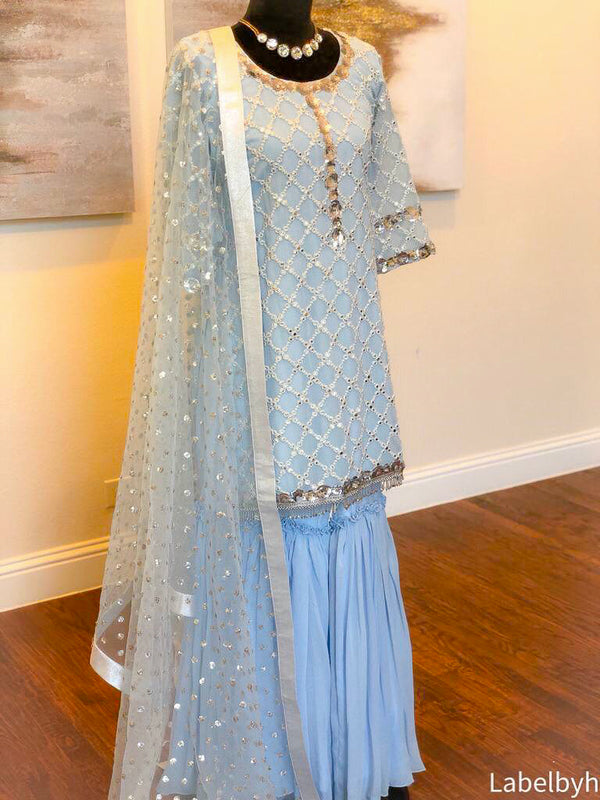 POWDER BLUE GARARA SET