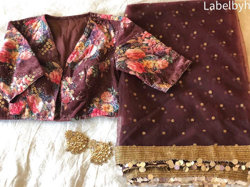 BROWN NET SAREE WITH VELVET FLORAL BLOUSE