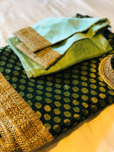 GREEN BROCADE GEORGETTE SAREE