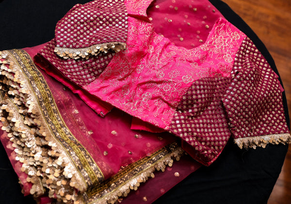 DARK DUSTY ROSE NET SAREE
