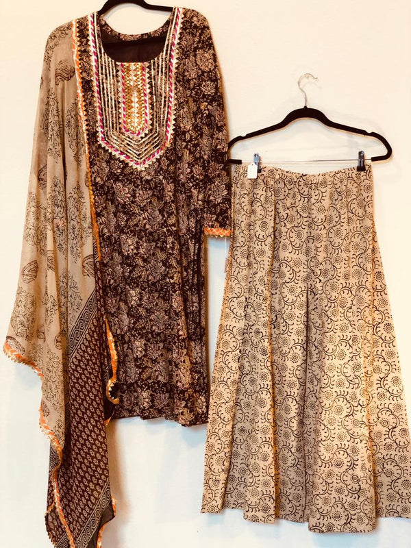 COTTON KURTA WITH PLAZZO AND DUPATTA