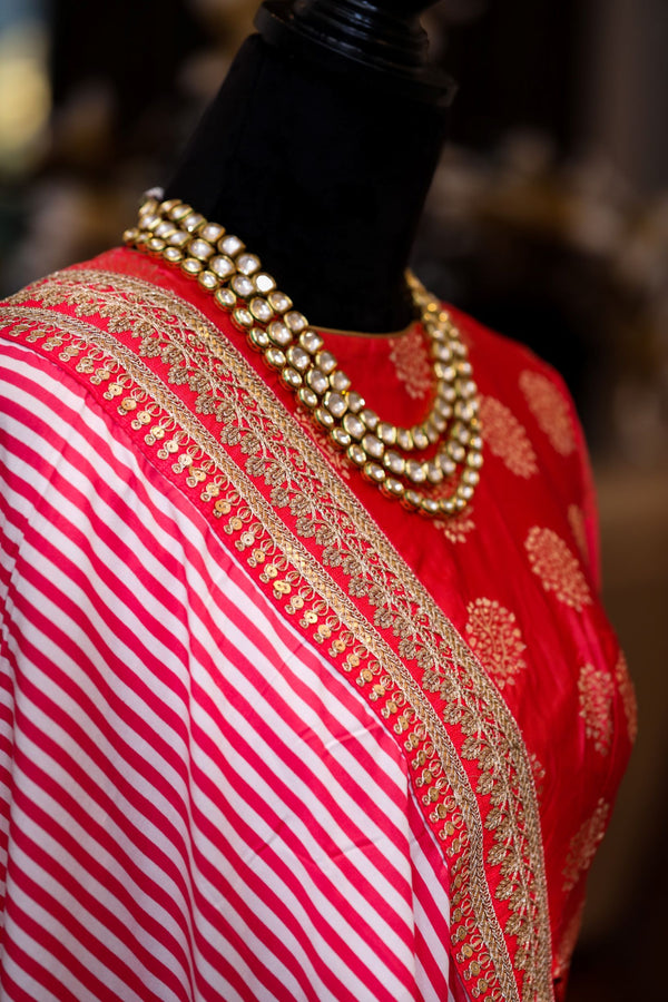 PINK AND WHITE STRIPE SAREE WITH BROCADE SILK BLOUSE