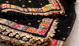 BLACK NET SAREE WITH MULTI COLOR BORDER LACE