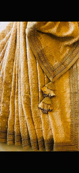 GOLDEN BEIGE EMBROIDERED CHIKANKARI SAREE WITH BLACK BLOUSE