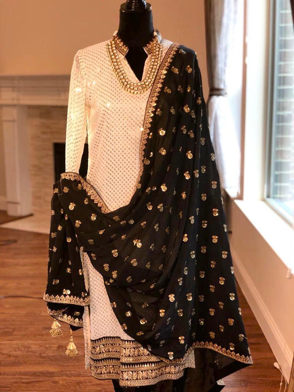Georgette kurta with sequin thread work