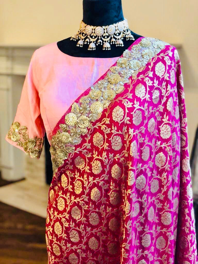 Georgette Brocade Banarasi saree paired with silk blouse