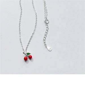 Sterling Silver Cherry Pendant Necklace