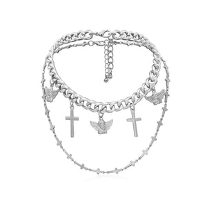 Punk  Angel Cross Pendant Choker Necklace
