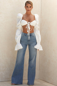 Cotton tie front crop top