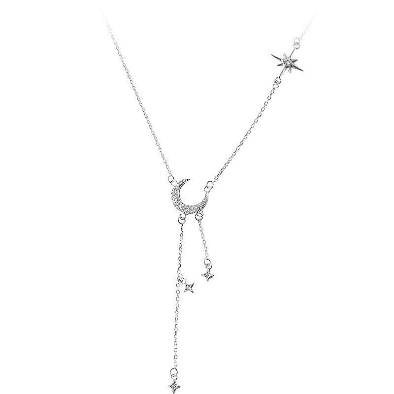 Sterling Silver moon & tassel Choker with thin chain