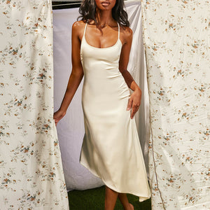 Silky Satin Backless Slip Dress