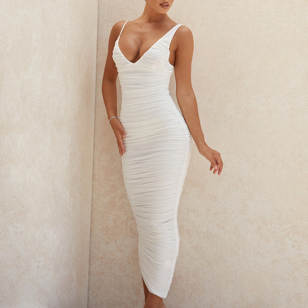 Bodycon Ruched White Elegant Midi Dress