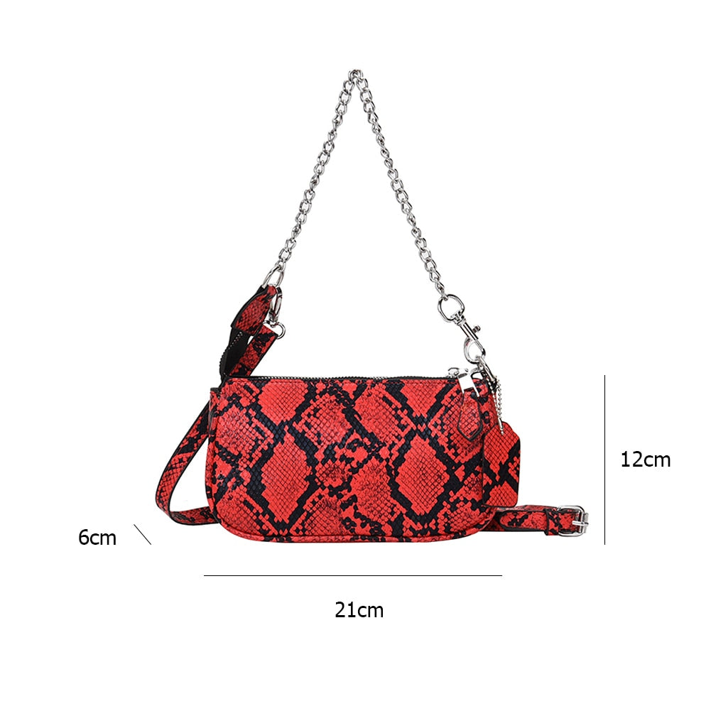 Youth Ladies Simple Versatile Bag Serpentine Women Shoulder Messenger Bag PU Leather Chain Retro Crossbody Pouch