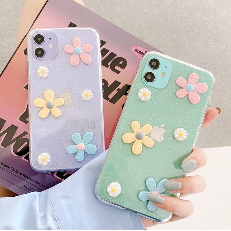 Fresh Daisy Flower shockproof  iPhone Case For iPhone 12 Mini 12 11 Pro Max XS Max XR X 7 8 Plus Cute Clear Point Soft Back Cover Gift