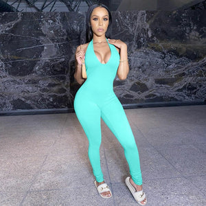 Simenual Solid Bodycon Halter Women Long Jumpsuits Skinny Backless Sle The Car Monkey