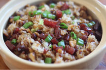 Sticky Rice with Chinese Sausage and Bacon