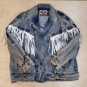 Fringe Acid Denim Jacket
