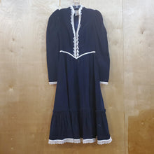 Load image into Gallery viewer, Gunne Sax 70's Navy Corduroy Dress