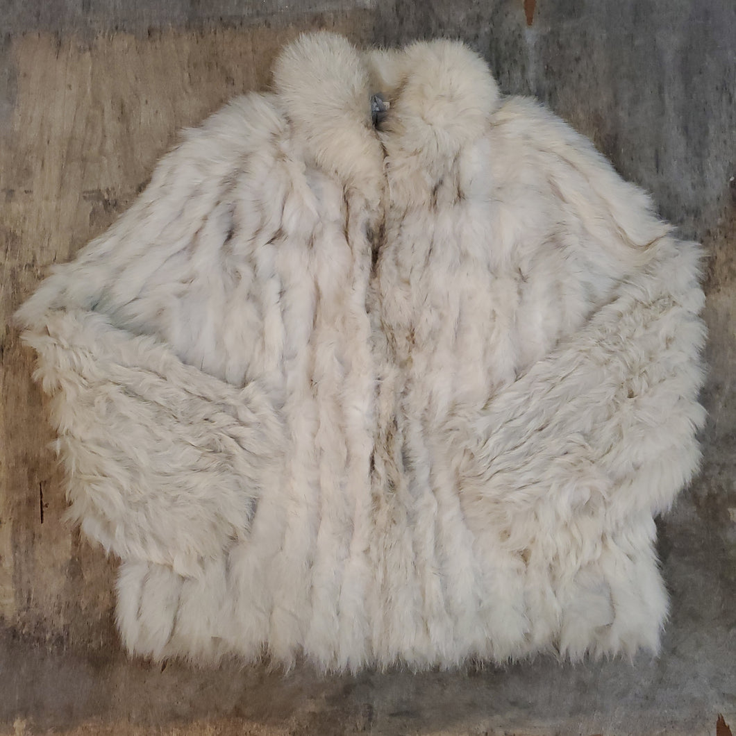 *SOLD* White & Gray Fur Coat