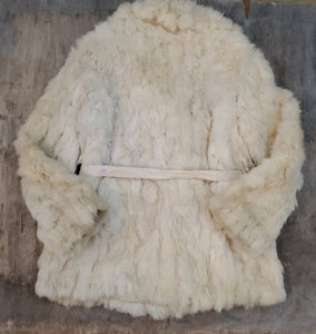 Belted French Rabbit Fur Coat