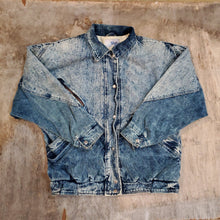 Load image into Gallery viewer, *SOLD* 90's Corduroy Trim Acid Denim Jacket Size M