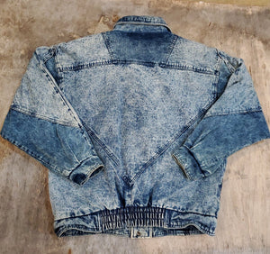 *SOLD* 90's Corduroy Trim Acid Denim Jacket Size M