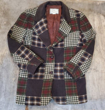 Load image into Gallery viewer, Wool Patchwork Plaid Blazer Size M