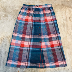 Flannel Buttoned Plaid Skirt