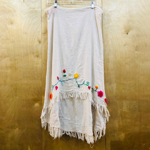 Flower Embroidered Knit Skirt