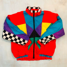 Load image into Gallery viewer, Multi Colored Checkered Nylon Jacket