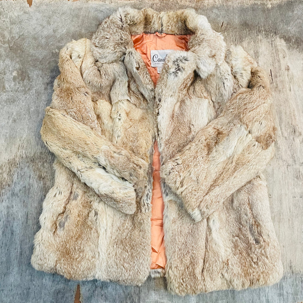 Dyed Rabbit Fur Mid-length Coat (Coral Lining)