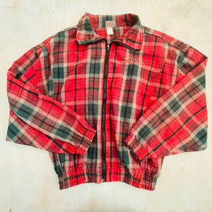Cotton Plaid Bodybuilding Zip Jacket