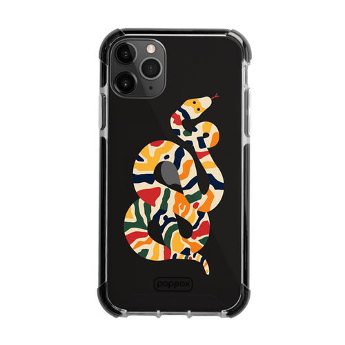 shockproof iphone 11 pro max phone case with multicolour snake design print