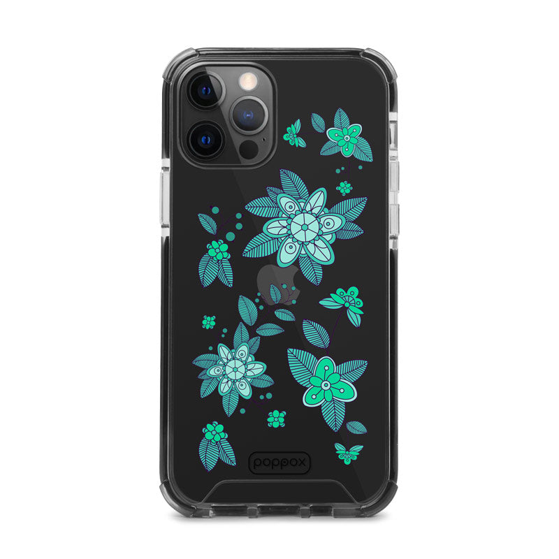 Bumper Edge iPhone 12 Pro - Emerald Abstract Flowers