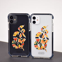 Cargar imagen en el visor de la galería, white and black iphone eleven with shockproof case with multicolour snake