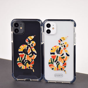 white and black iphone eleven with shockproof case with multicolour snake