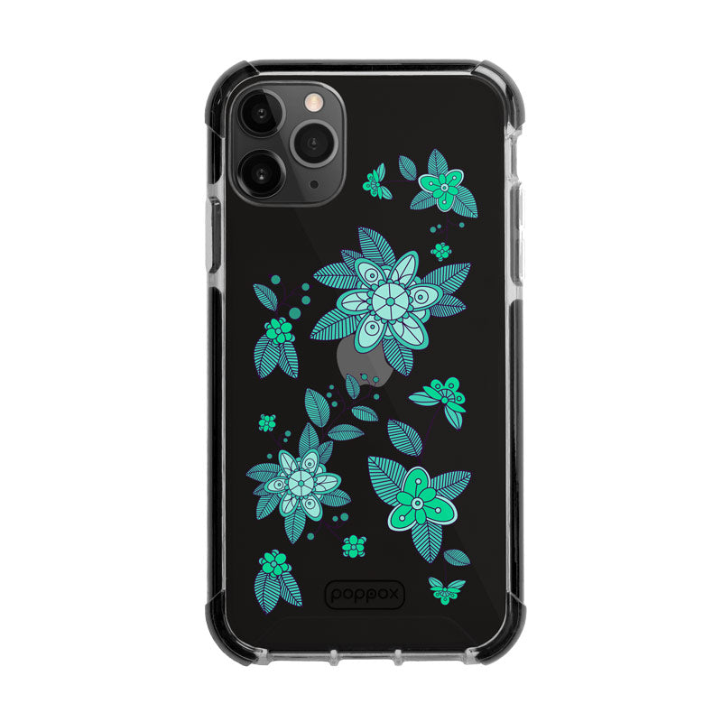Bumper Edge iPhone 11 Pro Max - Emerald Abstract Flowers