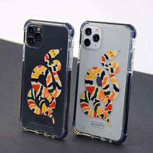 black and white iphone 11 pro max shockproof case with multicolour snake design print