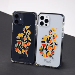 iphone 12 pro and iphone 12 with a printed shockproof phone case with colour snake print design