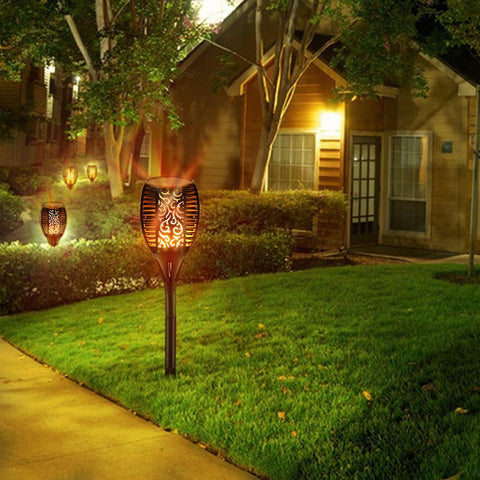 Image of Outdoor LED Solar Waterproof Flickering Flame Torch Light