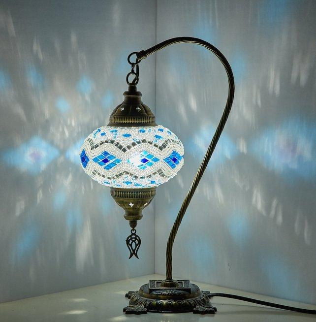 Handmade Turkish Moroccan Mosaic Swan Goose Neck Table Lamp