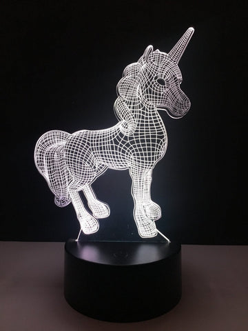 Image of 3D Unicorn LED Color Changing Night Light Table Lamp