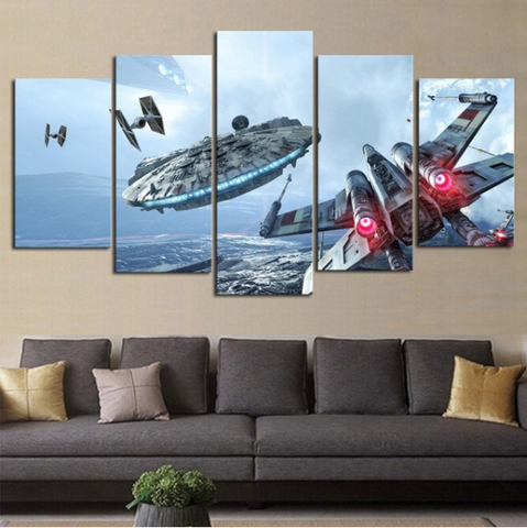 Image of Millennium Falcon X-Wing 5 Piece Canvas Limited Edition