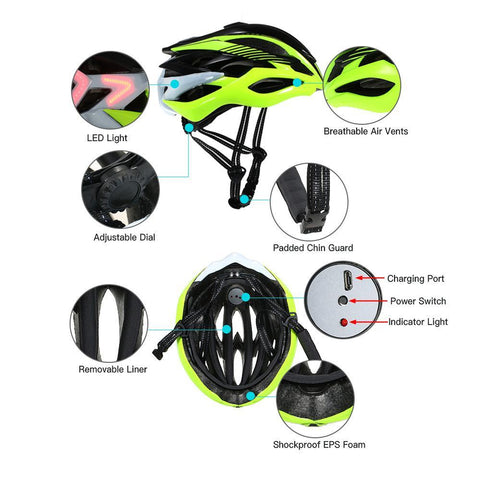Image of Smart Bicycle Helmet with LED Signal Light