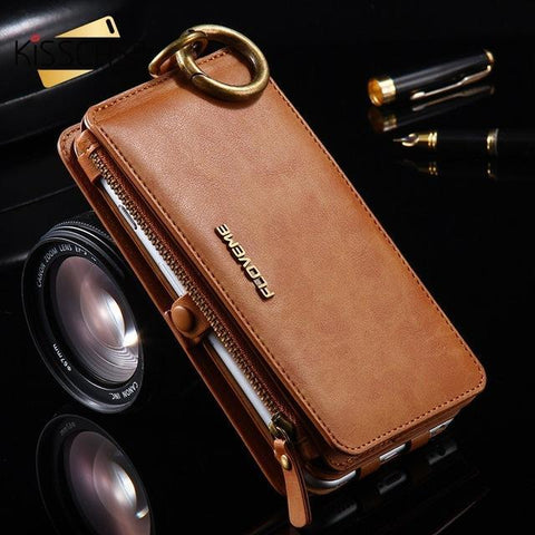 Image of Luxury Retro Leather Wallet Case For Iphone