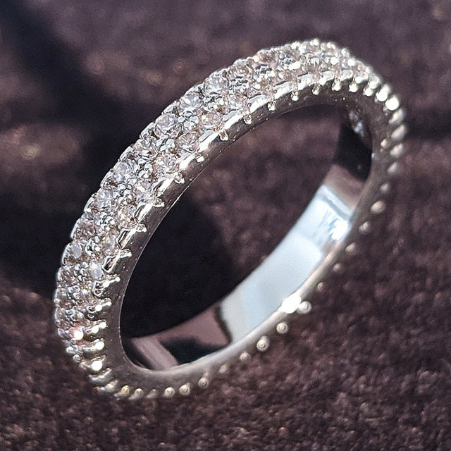 luxury 925 sterling silver wedding band eternity ring for women big gift for ladies love wholesale lots bulk jewelry R4577|Rings|