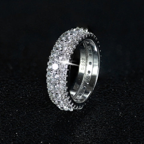 Image of luxury 925 sterling silver wedding band eternity ring for women big gift for ladies love wholesale lots bulk jewelry R4577|Rings|