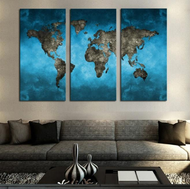 World Map 3 Piece Canvas Limited Edition - World Map 3 Piece Canvas Limited Edition